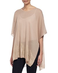 Neiman Marcus Knit Lace Hem Poncho Taupe Brown