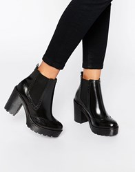 Bronx Chunky Heeled Leather Ankle Boots Black