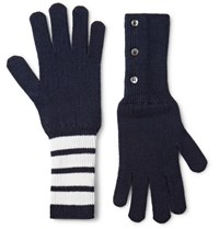 Thom Browne Striped Cashmere Gloves Navy
