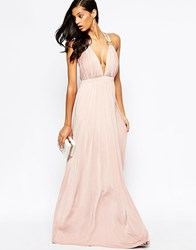 Forever Unique Cindie Plunge Neck Maxi Dress Nude