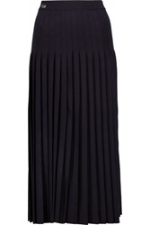 Vionnet Pleated Wool Midi Skirt Midnight Blue