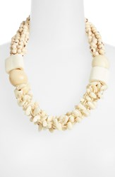 Eskandar Seed Bead And Horn Necklace Ivory