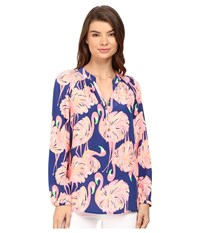 Lilly Pulitzer Elsa Top Resort Navy Gimme Some Leg Women's Blouse Pink