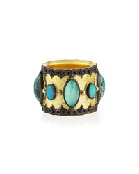 Armenta Green Turquoise And Opal Band Ring