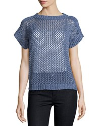 Lafayette 148 New York Open Knit Short Sleeve Sweater Bay Multi