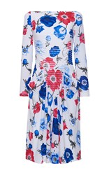 Salvatore Ferragamo Georgette Bright Floral Pleated Long Sleeve Dress
