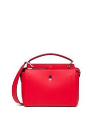 Fendi Dotcom Two Tone Leather Satchel Red
