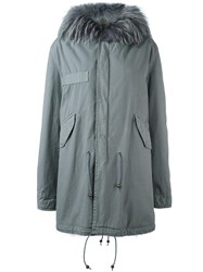Mr And Mrs Italy Raccoon Coyote Fur Parka Grey