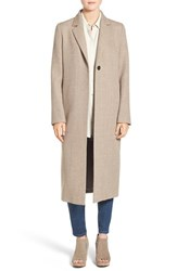 Eileen Fisher Women's Alpaca Notch Collar Long Coat Dark Almond