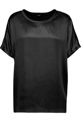 Joseph Silk Satin And Cotton Jersey T Shirt Black