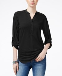 Almost Famous Juniors' Utility Tunic With Lace Back Black
