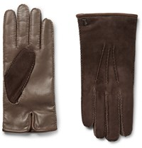 Tod's City Cahmere Lined Uede And Leather Glove Mushroom