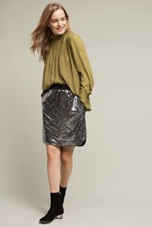 Anthropologie Sequin Afterparty Skirt Black Motif