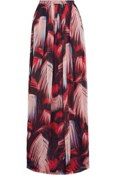 Matthew Williamson Printed Silk Chiffon Maxi Skirt Black