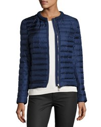 Moncler Camomille Quilted Silk Jacket Blue