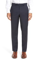 Ted Baker Men's London Livingstone Flat Front Plaid Wool Trousers Navy