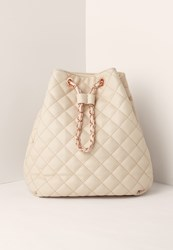 Missguided Quilted Chain Handle Backpack Nude