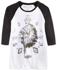 Ring Of Fire Chief Camo Zebra Floral Graphic Print Raglan Sleeve T Shirt White Black