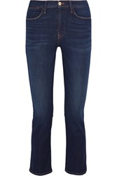 Frame Le High Cropped Mid Rise Slim Leg Jeans Dark Denim