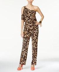 Thalia Sodi Printed One Shoulder Jumpsuit Only At Macy's Leopard