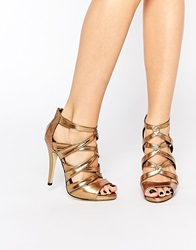 New Look Metallic Strappy Heeled Sandals Pewter