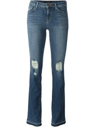 J Brand Distressed Bootcut Jeans Blue