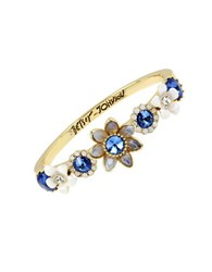 Betsey Johnson Faceted Stone Flower Hinged Bangle Bracelet Blue