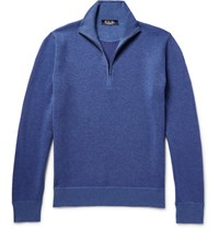 Loro Piana Roadster Striped Cashmere Half Zip Sweater Blue