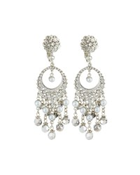 Jose And Maria Barrera Pearly And Crystal Round Filigree Dangle Earrings