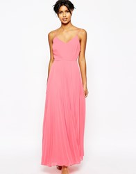 Asos Woven Strappy Maxi Dress With Pleated Skirt Coral Multi