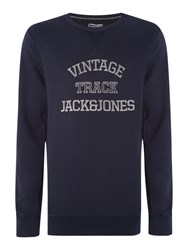 Jack And Jones Track And Field Large Logo Crew Neck Jumper Indigo