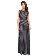 Donna Morgan Gigi Boat Neck Striped Sequin Gown Midnight Nude Women's Dress Black