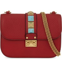 Valentino Jewel Rockstud Small Grained Leather Shoulder Bag Red