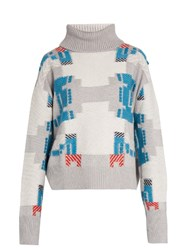 Barrie Press Play Cashmere Roll Neck Sweater Grey Multi