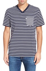 Men's Psycho Bunny Stripe Pocket V Neck T Shirt Navy