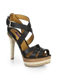 Ralph Lauren Joely Leather Espadrille Sandals Black