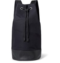 Cos Leather Trimmed Canvas Backpack Midnight Blue