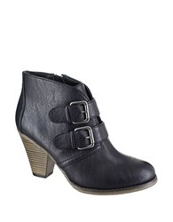 Mia Farris Double Buckle Ankle Boots Black
