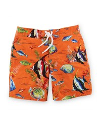 Ralph Lauren Sanibel Angelfish Tie Front Swim Trunks Orange
