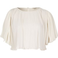 River Island Womens Cream Pleated Crop Top