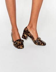 Asos On Time Square Toe Loafers Tortoise Shell Brown