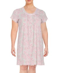 Miss Elaine Plus Patterned Nightgown Peach Print