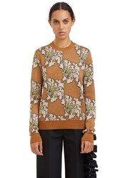 Msgm Metallic Floral Jacquard Sweater Gold