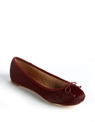 Lord And Taylor Dressen Leopard Print Calf Hair Flats Burgundy