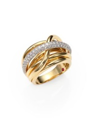 Roberto Coin Classica Diamond And 18K Yellow Gold Crossover Ring Yellow Gold Diamond