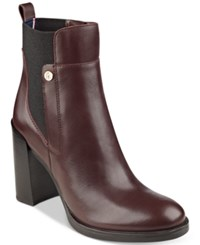 Tommy Hilfiger Britton Ankle Booties Women's Shoes Bordo