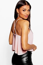 Boohoo Slinky Cross Back Swing Crop Cami Nude