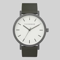 The Horse Brushed Gun Metal White Face Olive Leather Watch