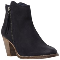 Dune Pollie Leather Western Style Mid Heel Ankle Boots Navy