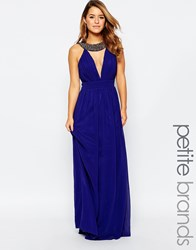 Little Mistress Petite Maxi Dress With Mesh Insert And Embellished Neck Detail Cobalt Blue